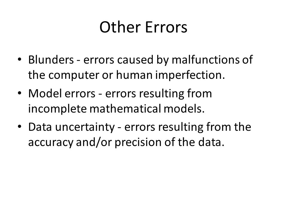 Other Errors Blunders - errors caused by malfunctions of the computer or human imperfection.