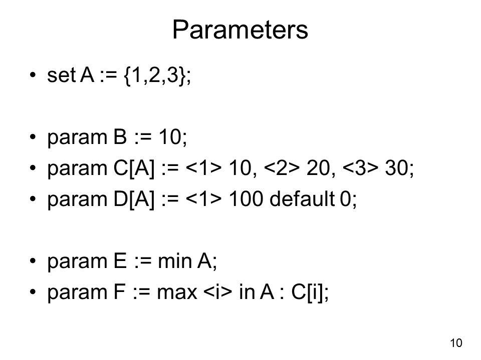 Parameters set A := {1,2,3}; param B := 10;