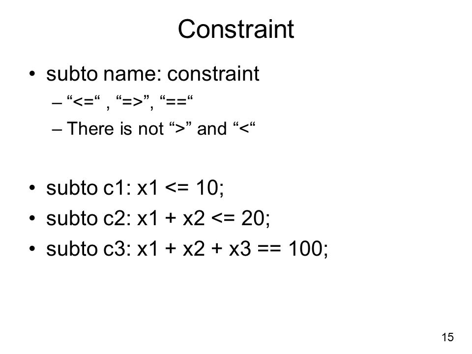 Constraint subto name: constraint subto c1: x1 <= 10;