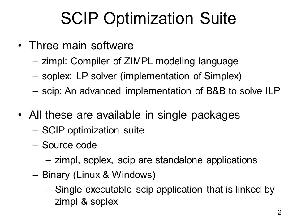 SCIP Optimization Suite