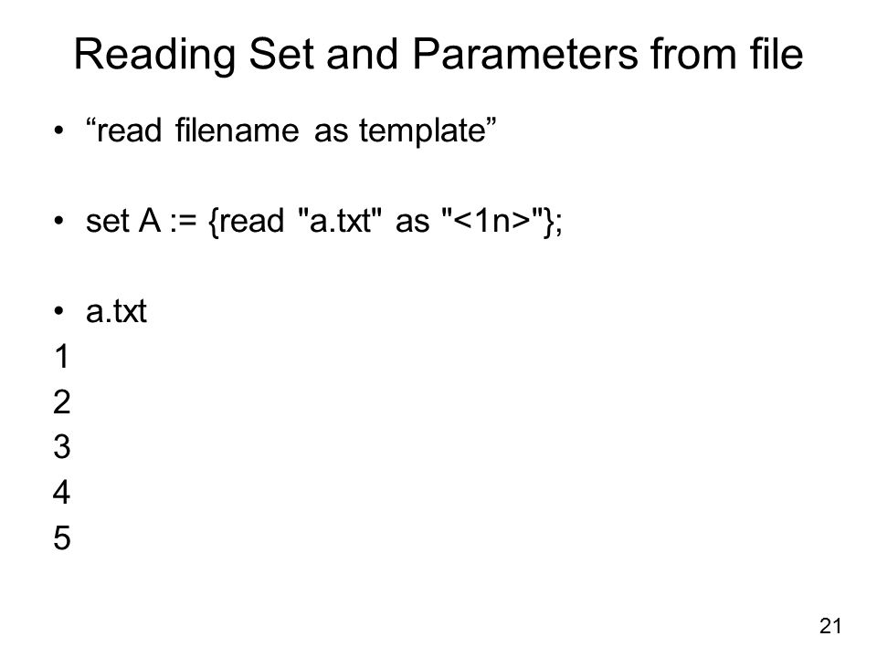 Reading Set and Parameters from file
