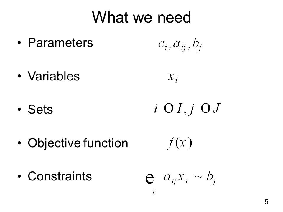 What we need Parameters Variables Sets Objective function Constraints