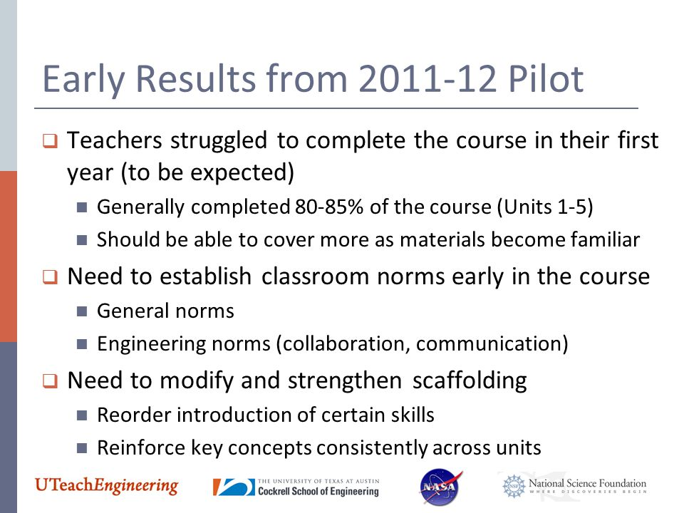 Early Results from 2011-12 Pilot