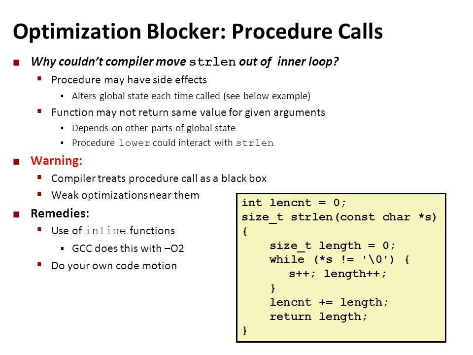 Optimization Blocker: Procedure Calls