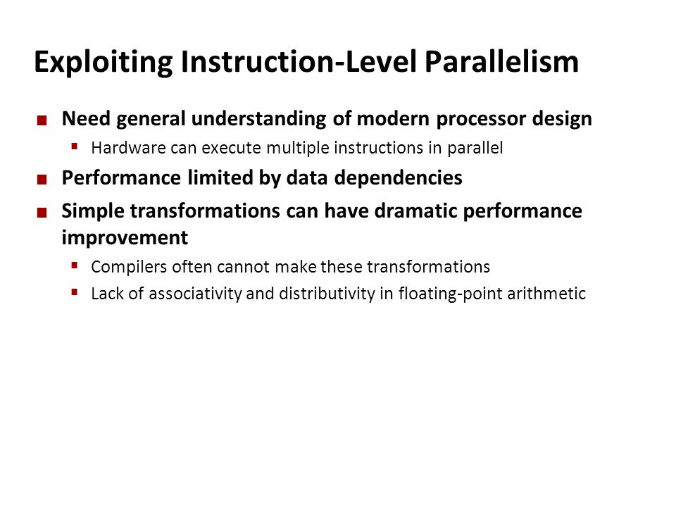 Exploiting Instruction-Level Parallelism