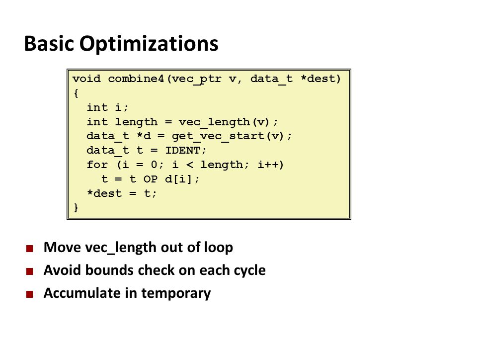 Basic Optimizations Move vec_length out of loop