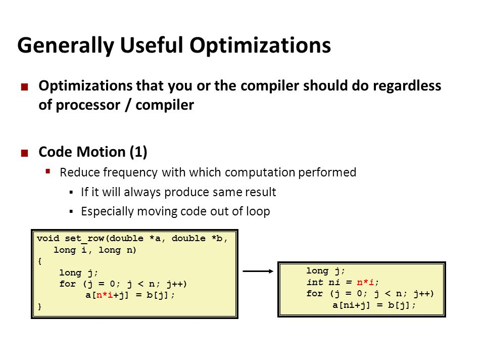 Generally Useful Optimizations