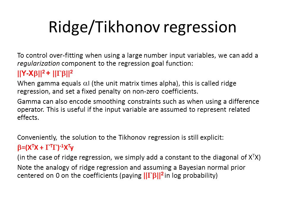 Ridge/Tikhonov regression