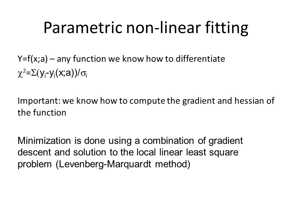 Parametric non-linear fitting