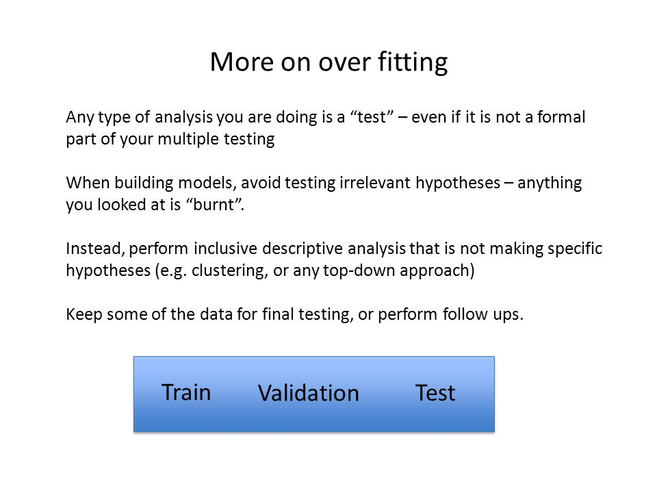 More on over fitting Train Validation Test