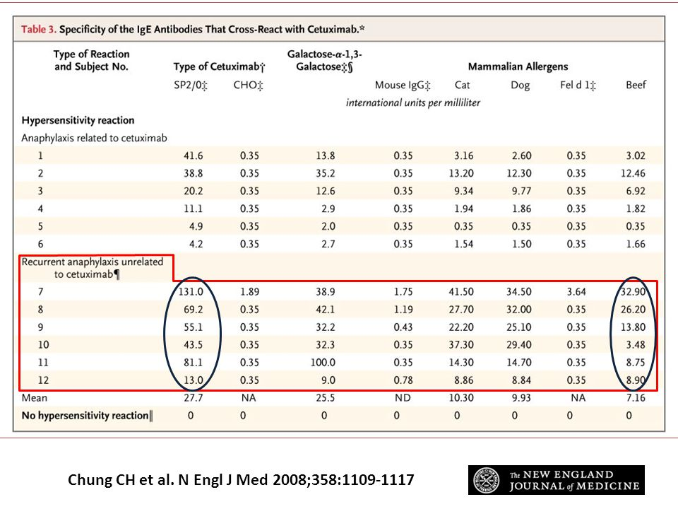 Specificity of the IgE Antibodies That Cross-React with Cetuximab