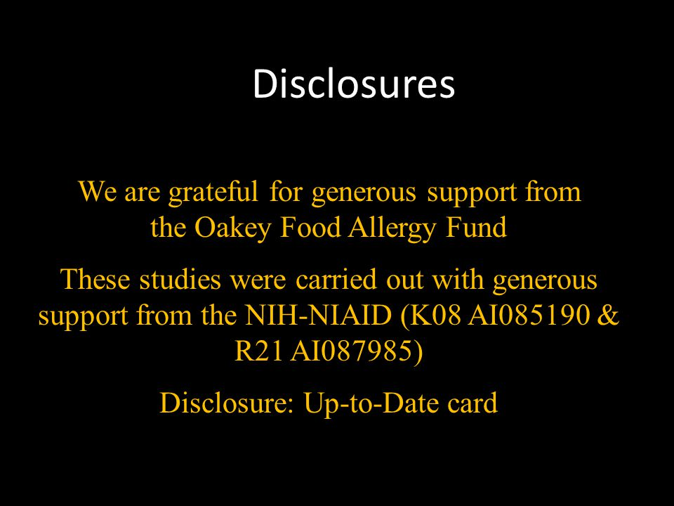 Disclosures We are grateful for generous support from