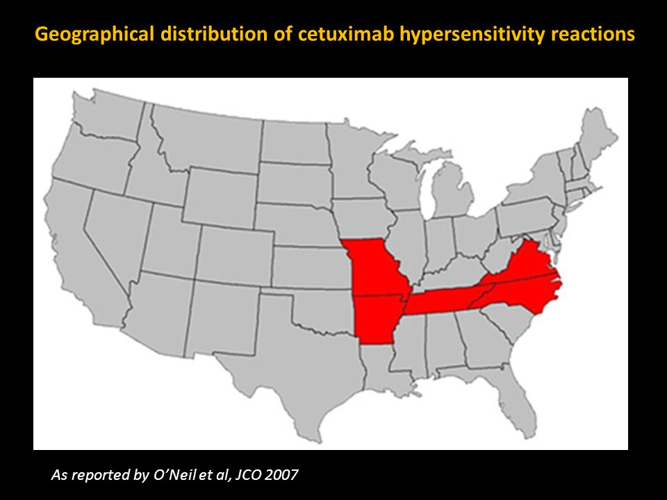 Geographical distribution of cetuximab hypersensitivity reactions