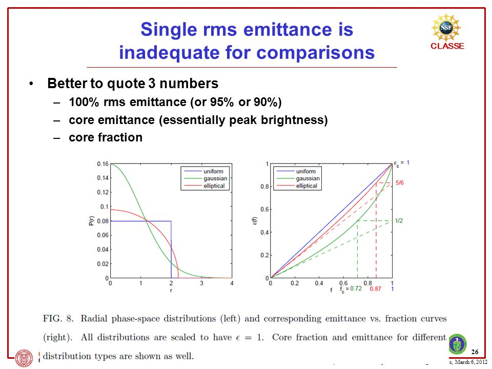 Single rms emittance is inadequate for comparisons