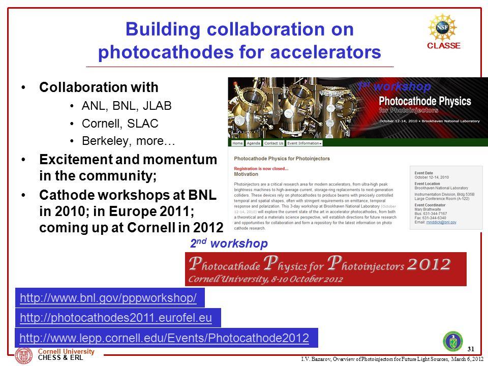 Building collaboration on photocathodes for accelerators