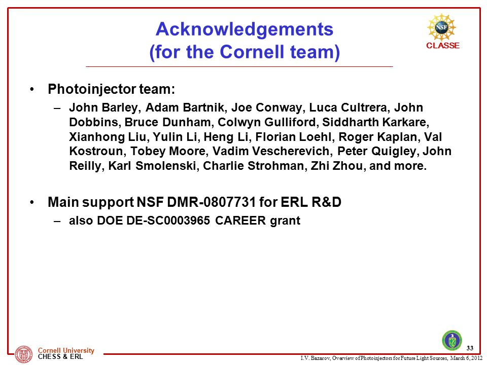 Acknowledgements (for the Cornell team)