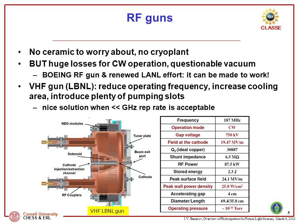 RF guns No ceramic to worry about, no cryoplant