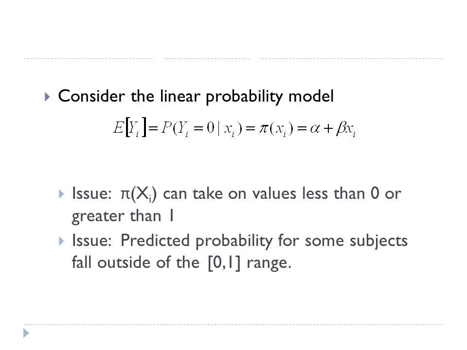 Logistic Regression Consider the linear probability model