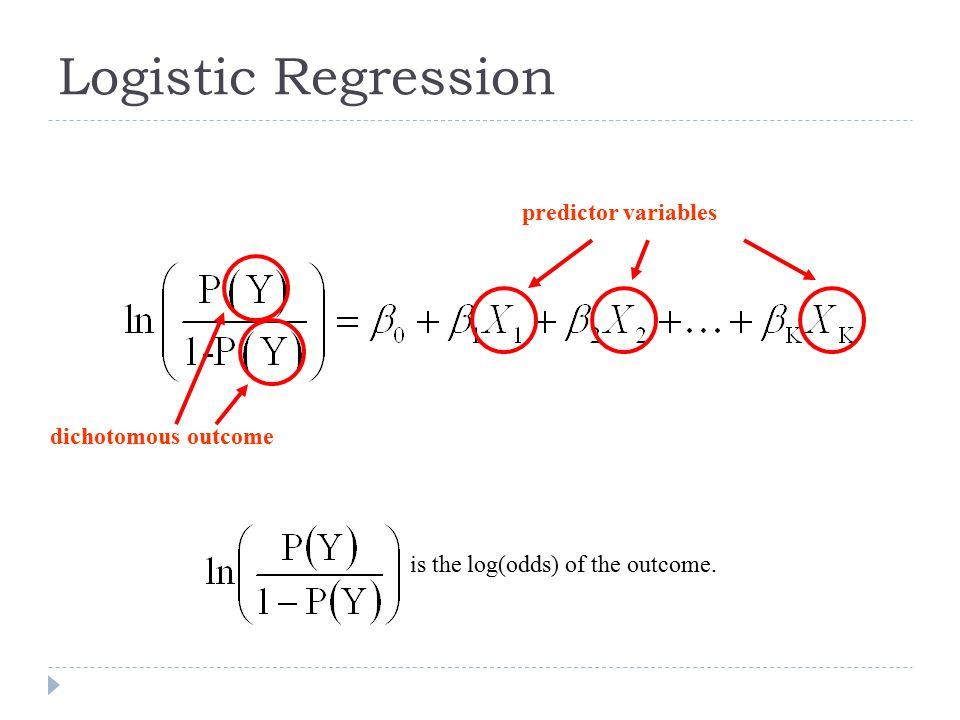 Logistic Regression predictor variables dichotomous outcome