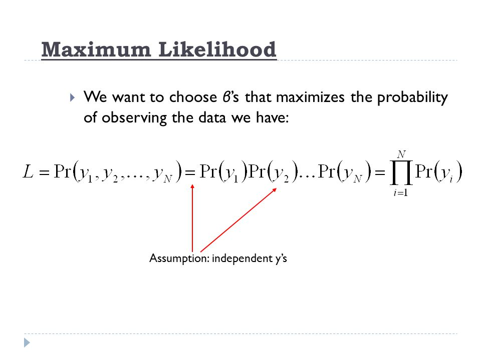Maximum Likelihood We want to choose β's that maximizes the probability of observing the data we have: