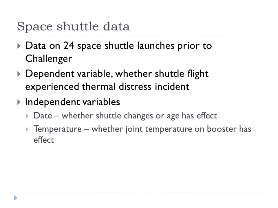 Space shuttle data Data on 24 space shuttle launches prior to Challenger.