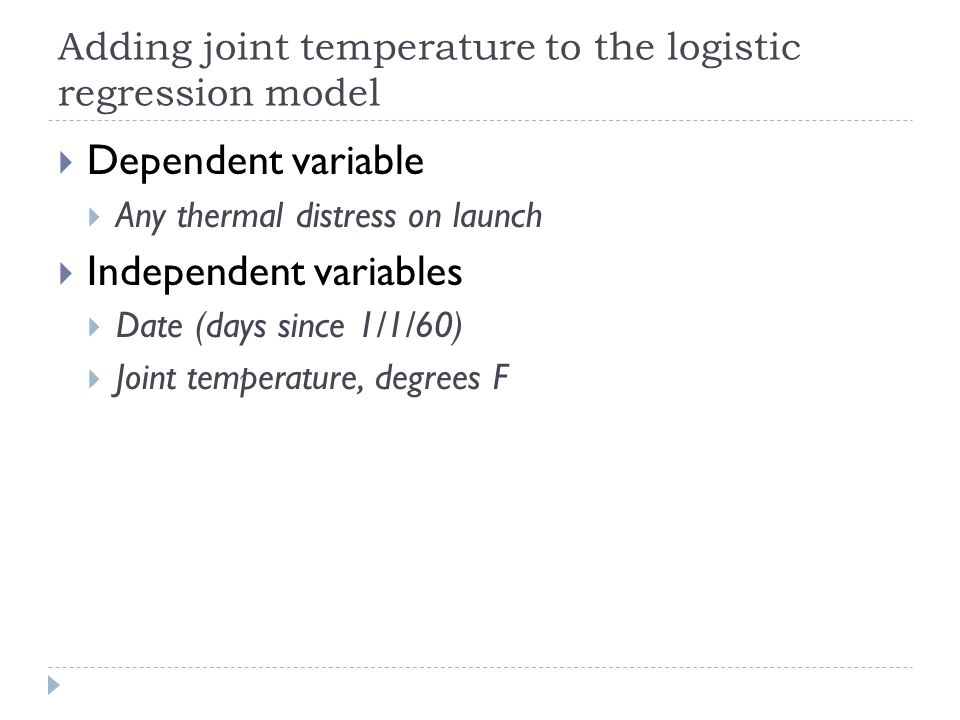 Adding joint temperature to the logistic regression model