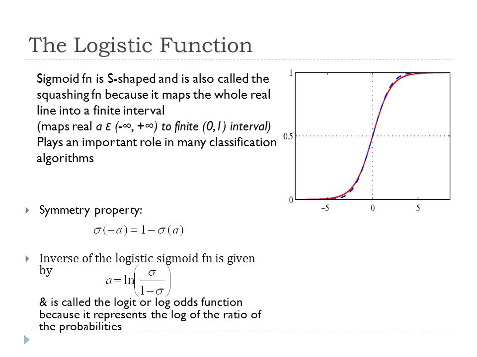 The Logistic Function Sigmoid fn is S-shaped and is also called the squashing fn because it maps the whole real line into a finite interval.