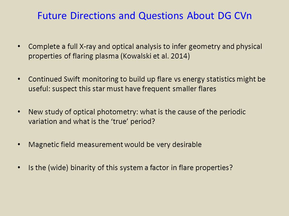 Future Directions and Questions About DG CVn