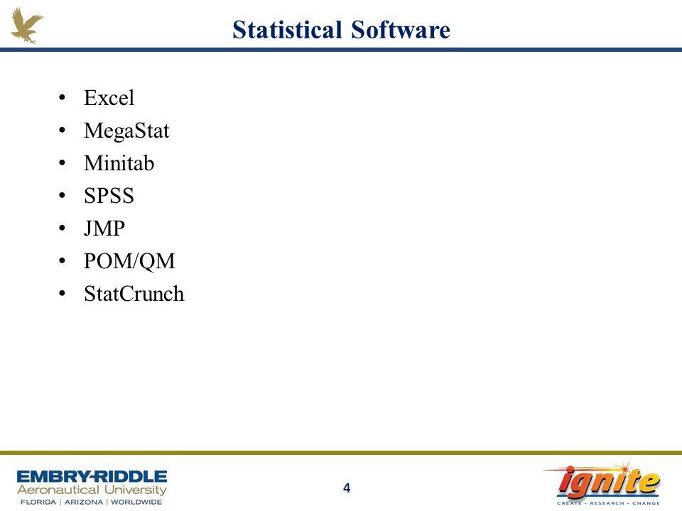 Statistical Software Excel MegaStat Minitab SPSS JMP POM/QM StatCrunch