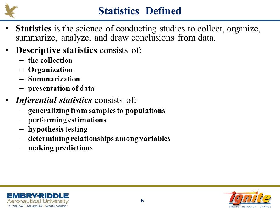 Statistics Defined Statistics is the science of conducting studies to collect, organize, summarize, analyze, and draw conclusions from data.