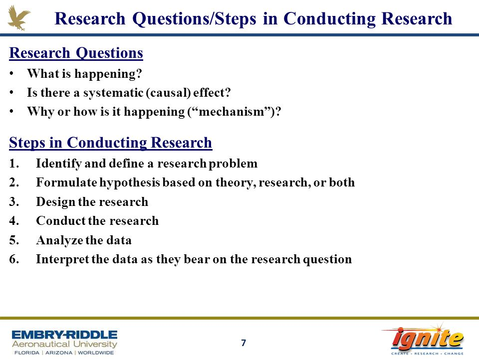 Research Questions/Steps in Conducting Research