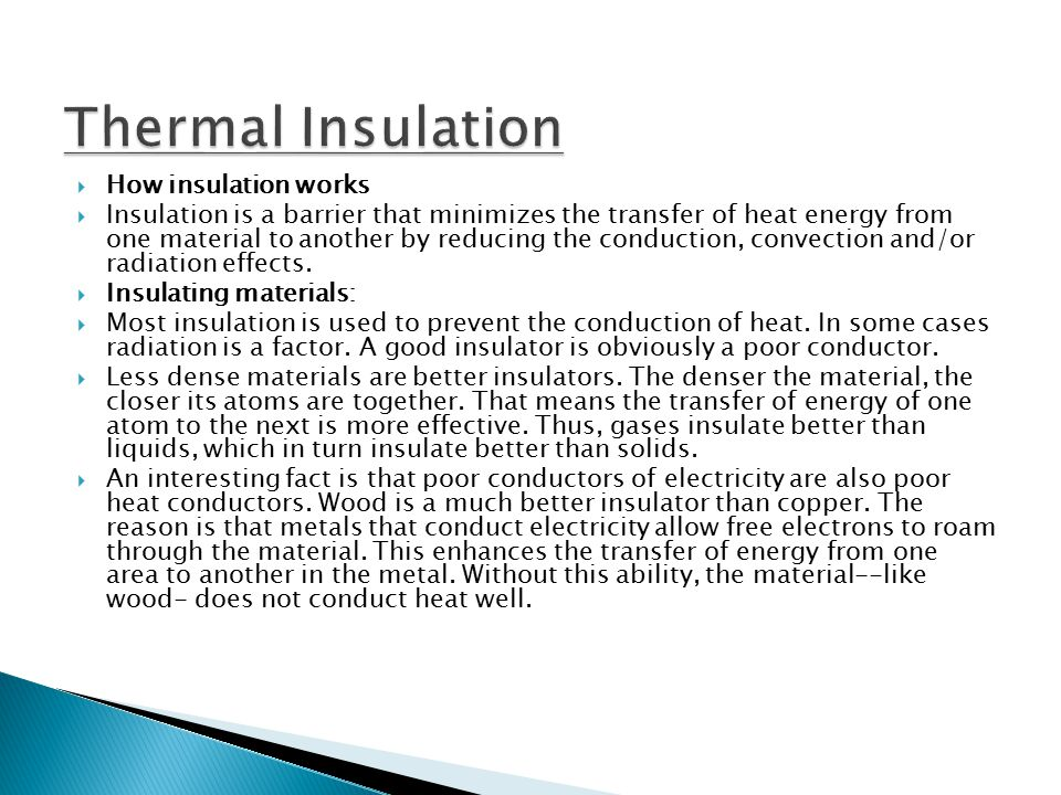 Thermal Insulation How insulation works