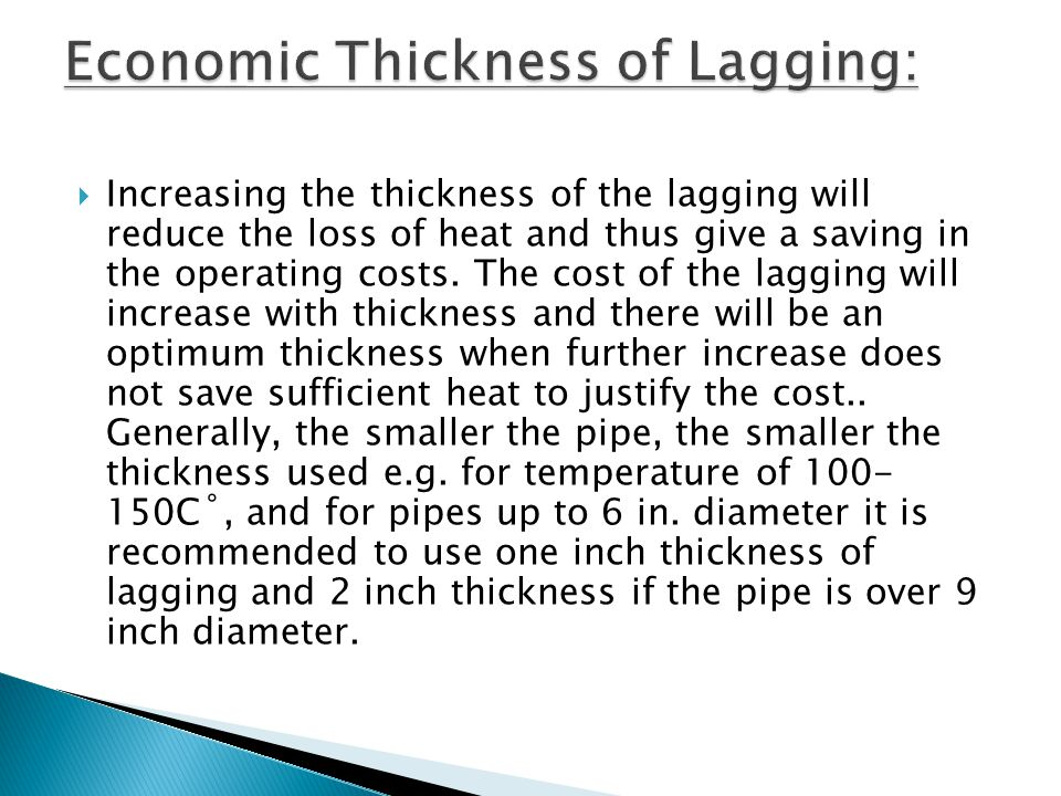 Economic Thickness of Lagging: