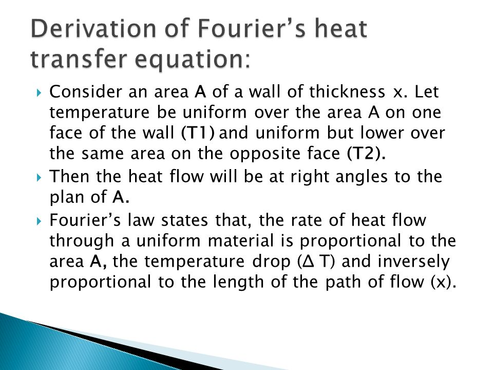 Derivation of Fourier's heat transfer equation:
