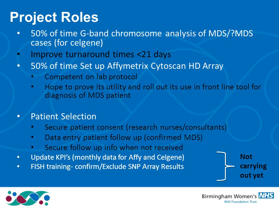 Project Roles 50% of time G-band chromosome analysis of MDS/ MDS cases (for celgene) Improve turnaround times <21 days.