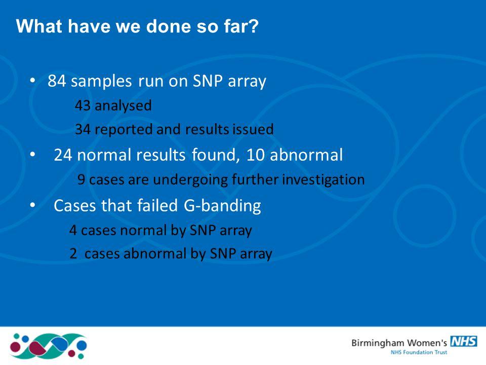 84 samples run on SNP array