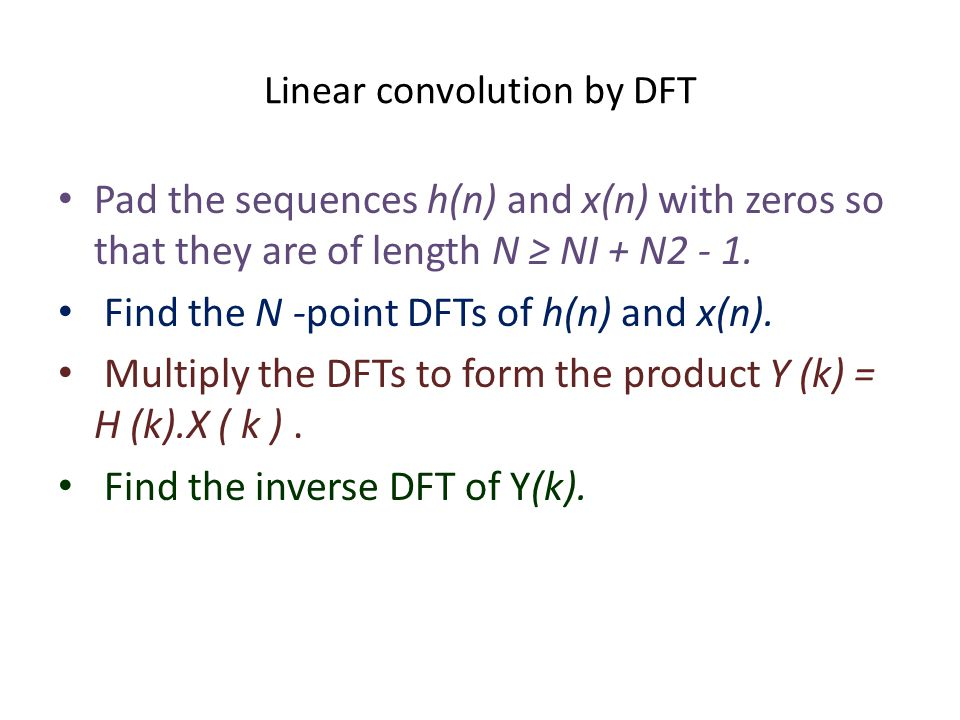 Linear convolution by DFT