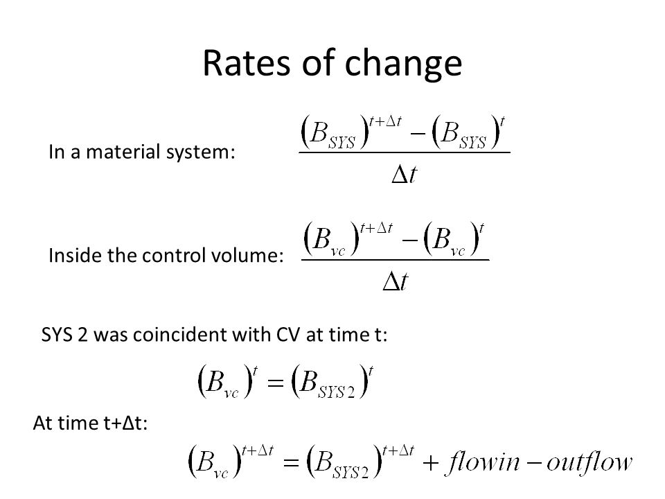 Rates of change In a material system: Inside the control volume: