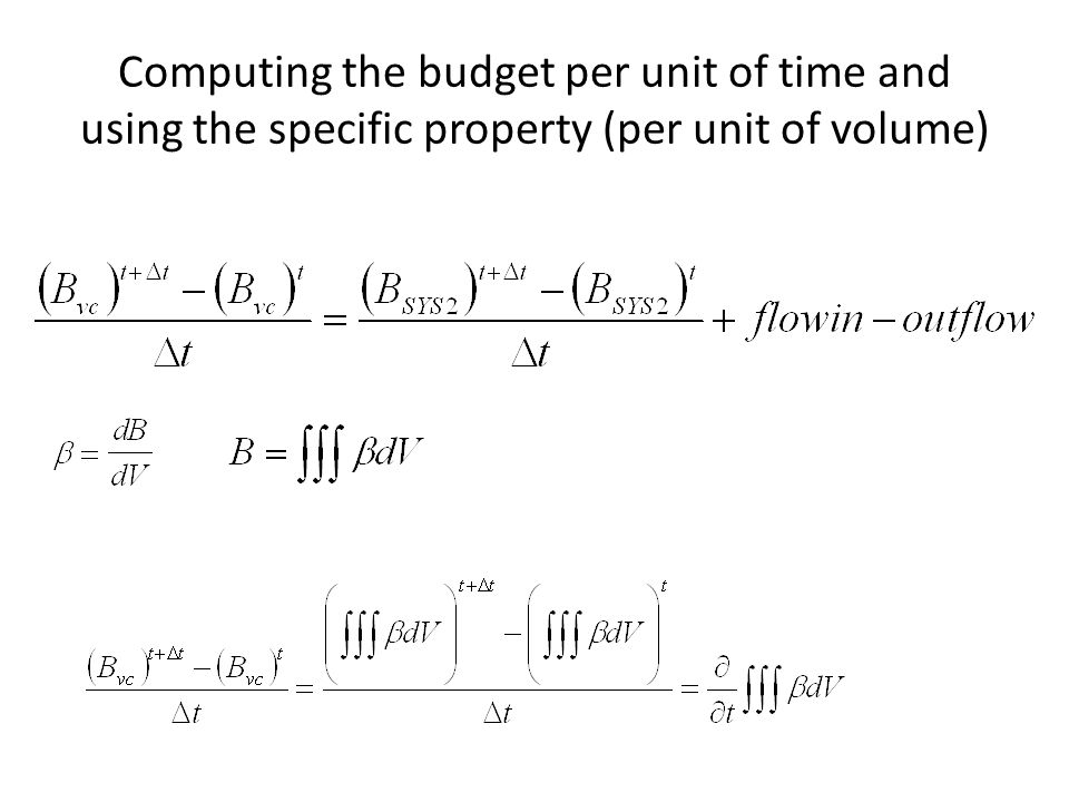 Computing the budget per unit of time and using the specific property (per unit of volume)