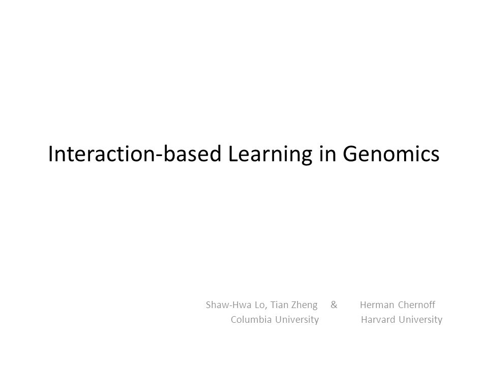 Interaction-based Learning in Genomics