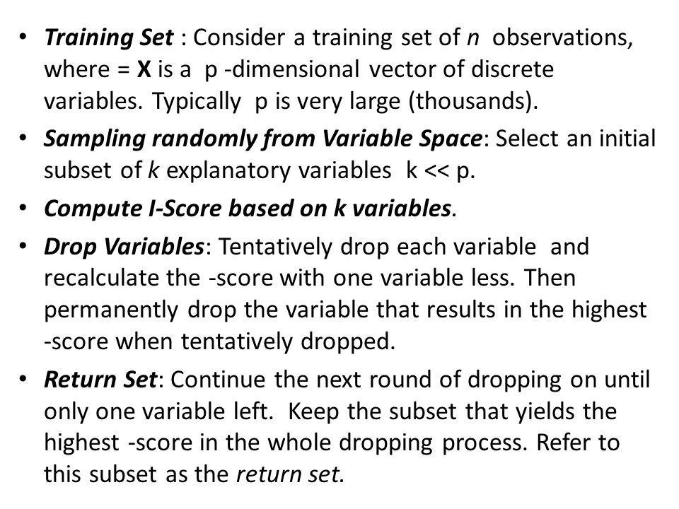 Training Set : Consider a training set of n observations, where = X is a p -dimensional vector of discrete variables. Typically p is very large (thousands).