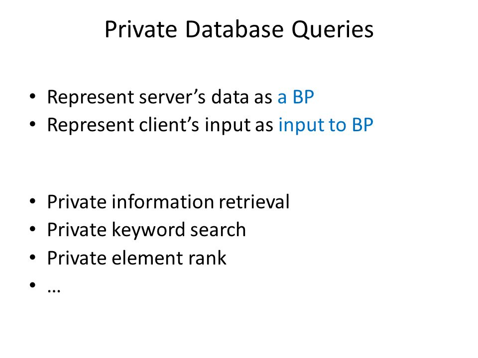 Private Database Queries