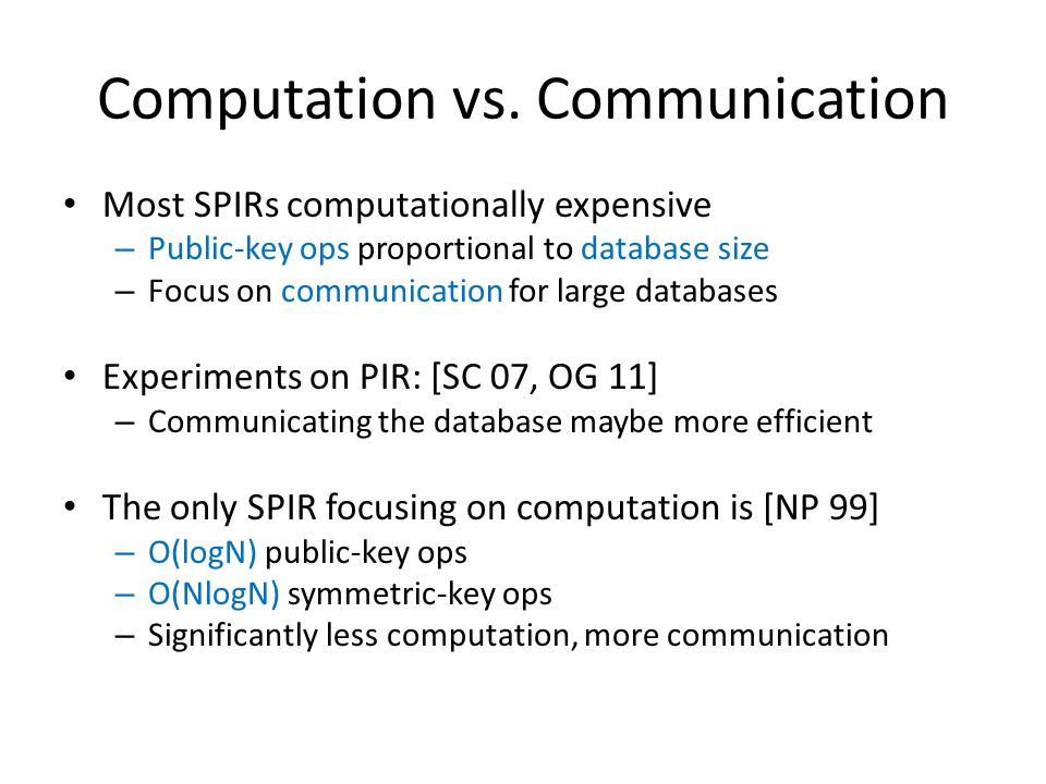 Computation vs. Communication