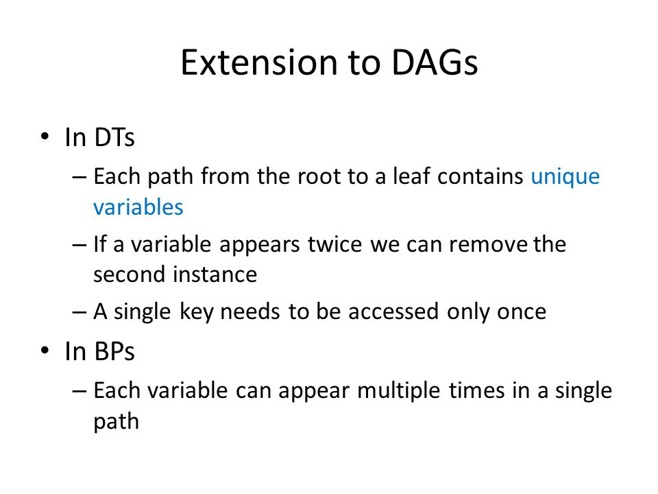 Extension to DAGs In DTs In BPs