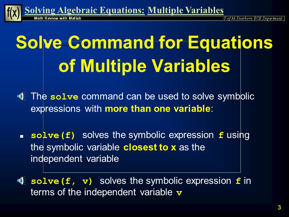 Solve Command for Equations of Multiple Variables