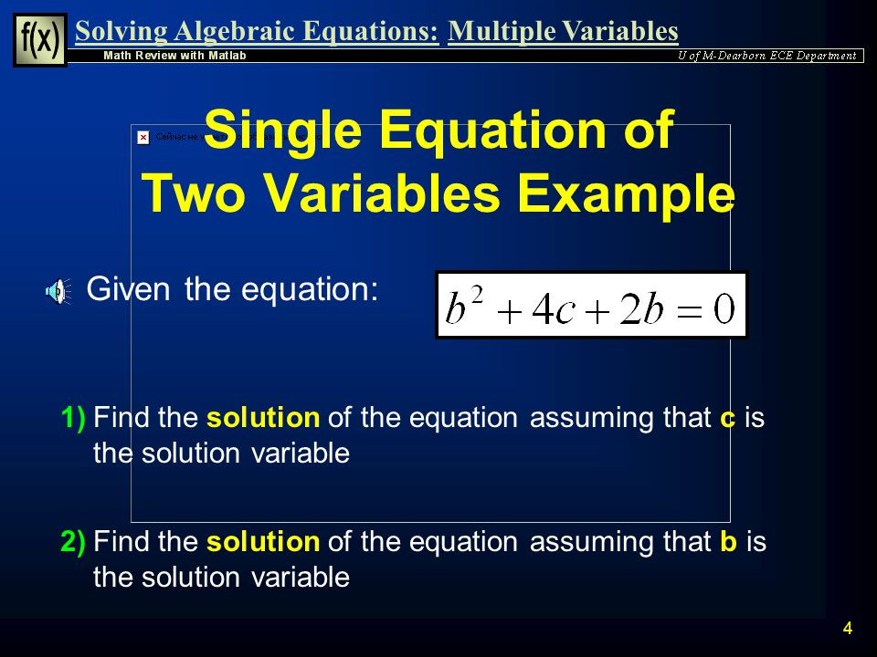 Single Equation of Two Variables Example
