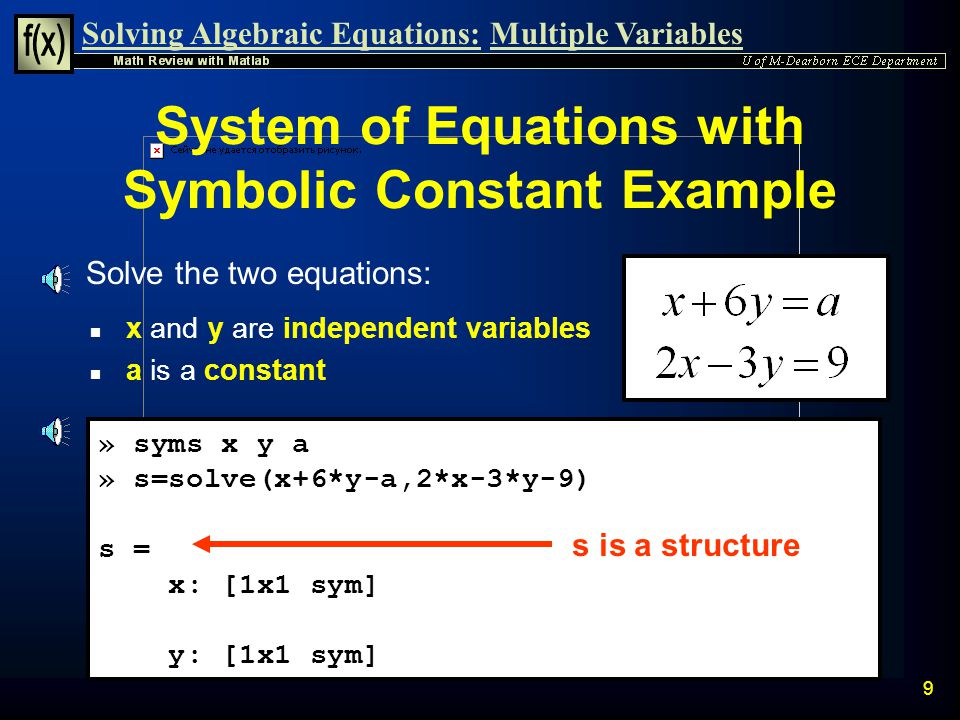 System of Equations with Symbolic Constant Example
