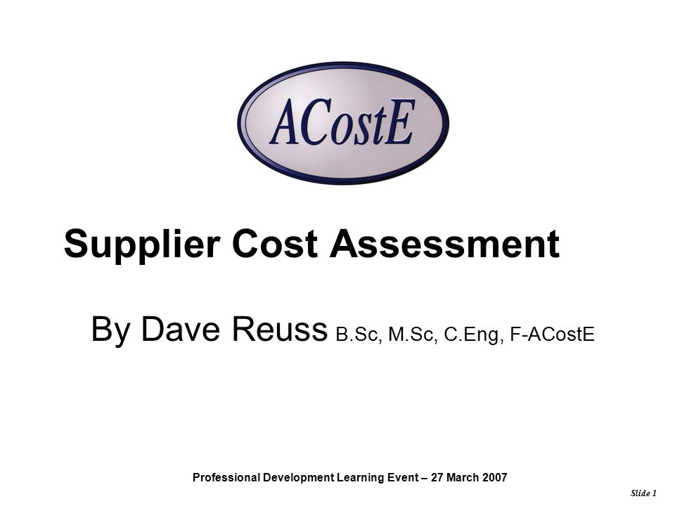 Supplier Cost Assessment