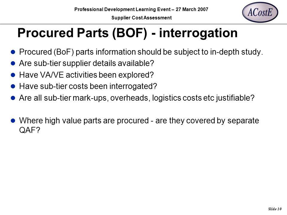 Procured Parts (BOF) - interrogation