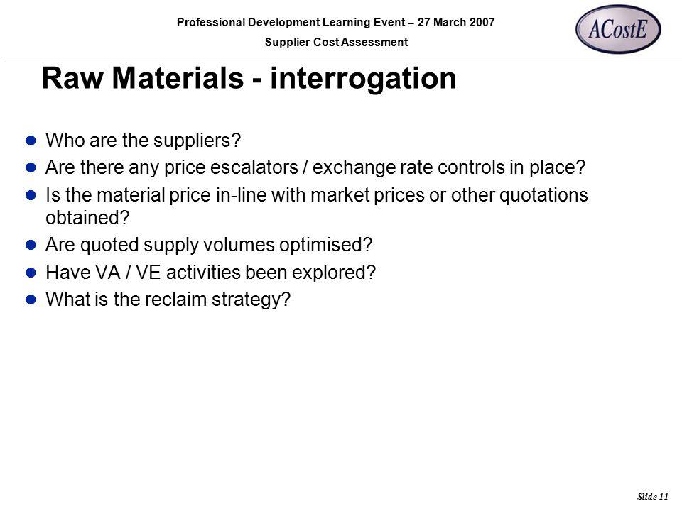 Raw Materials - interrogation